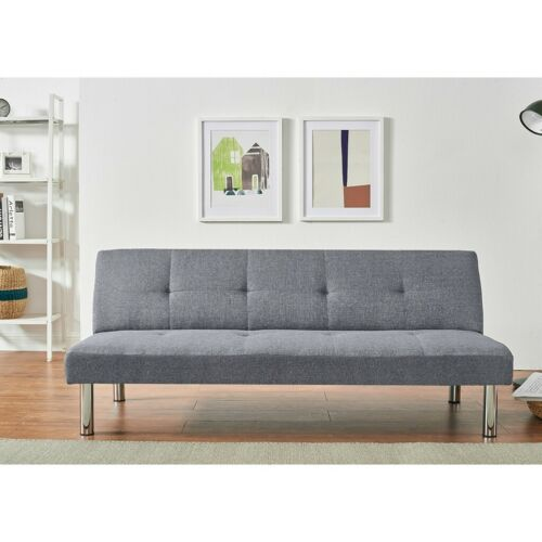 3 Seater Faux Suede//Linen Fabric Sofa Bed Click-Clack Sofabed Recliner Couch