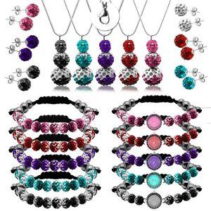 Shamballa-Damen-Armband-Uhr-Armbanduhr-Ohrstecker-Stecker-Kette-Halskette-Set