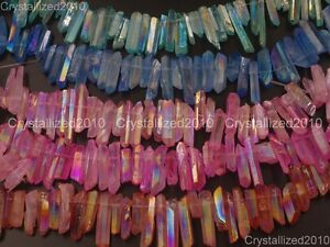 Natural-Druzy-Quartz-Crystal-Titanium-Coated-Stick-Poined-Drilled-Beads-New-16-034