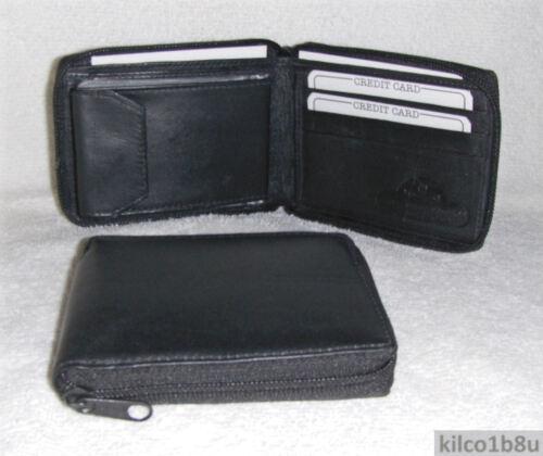 Genuine Leather Men/'s Bifold Zip Around Wallet #56 BLACK