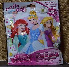"NEW Disney Princesses Puzzle On the Go 9.1"" x 10.3"" 48 pcs Kids Stocking Stuffer"