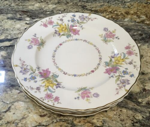 "LOT OF 4 SYRACUSE CHINA FEDERAL SHAPE BRIARCLIFF SALAD LUNCHEON PLATES 8 18""D"