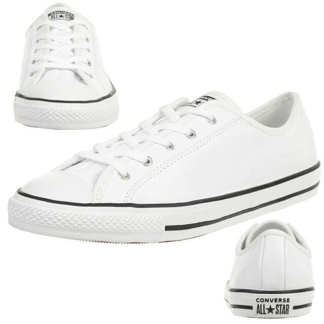 Converse Ctas Dainty GS Ox Chuck Shoes Leather Women White 564984C