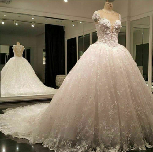 White Ivory Wedding Dresses Appliques Full Lace Bridal Ball Gowns Scoop Neck New