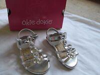Girls Okie Dokie Silver & Rhinestone Sandals With Bow, Size 5 M, Macy