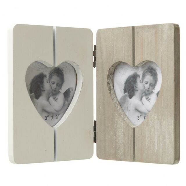 Double Heart Wooden Photo Frame White Natural Slatted 22cm X 15cm X