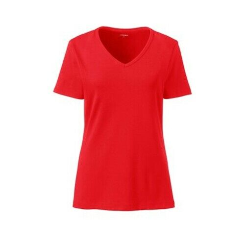 NEW WOMENS LANDS END S//S  RELAXED V NECK T SHIRT CHERRY RED-MEDIUM PETITE