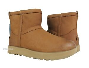 e599ae4a8bf Details about UGG Classic Mini Leather Waterproof Chestnut Fur Boots Womens  Size 8 *NIB*