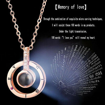 100~Languages I Love You Projection Pendant Necklace Memory of LOVE Jewelr bD