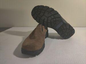 Lands-End-Mens-Size-10-Slip-On-Comfort-Mocs-Brown-Suede-Leather