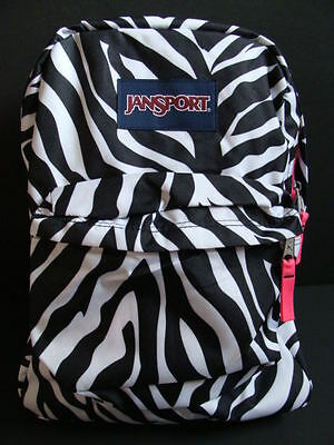 NWT JANSPORT SuperBreak Zebra Backpack Girls Book Bag School Pack Padded Black