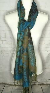 Pashmina-Silk-Blend-Rectangle-Scarf-69-034-x-26-034-Blue-Brown-Fringe