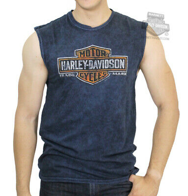 HARLEY-DAVIDSON Mens Long Time Trademark B/&S Mineral Wash Blue Sleeveless Muscle T-Shirt