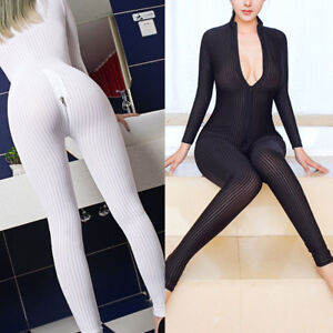 d48eb98d4a64 Image is loading Women-Sexy-Striped-Sheer-Bodysuit-Catsuits-Romper-2-
