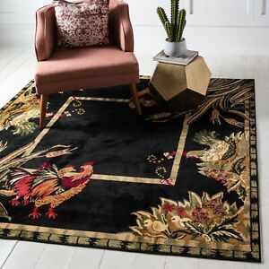 Details About Rooster Square Rug Farmhouse Decor Unique Country Rugs Area 72 X Black