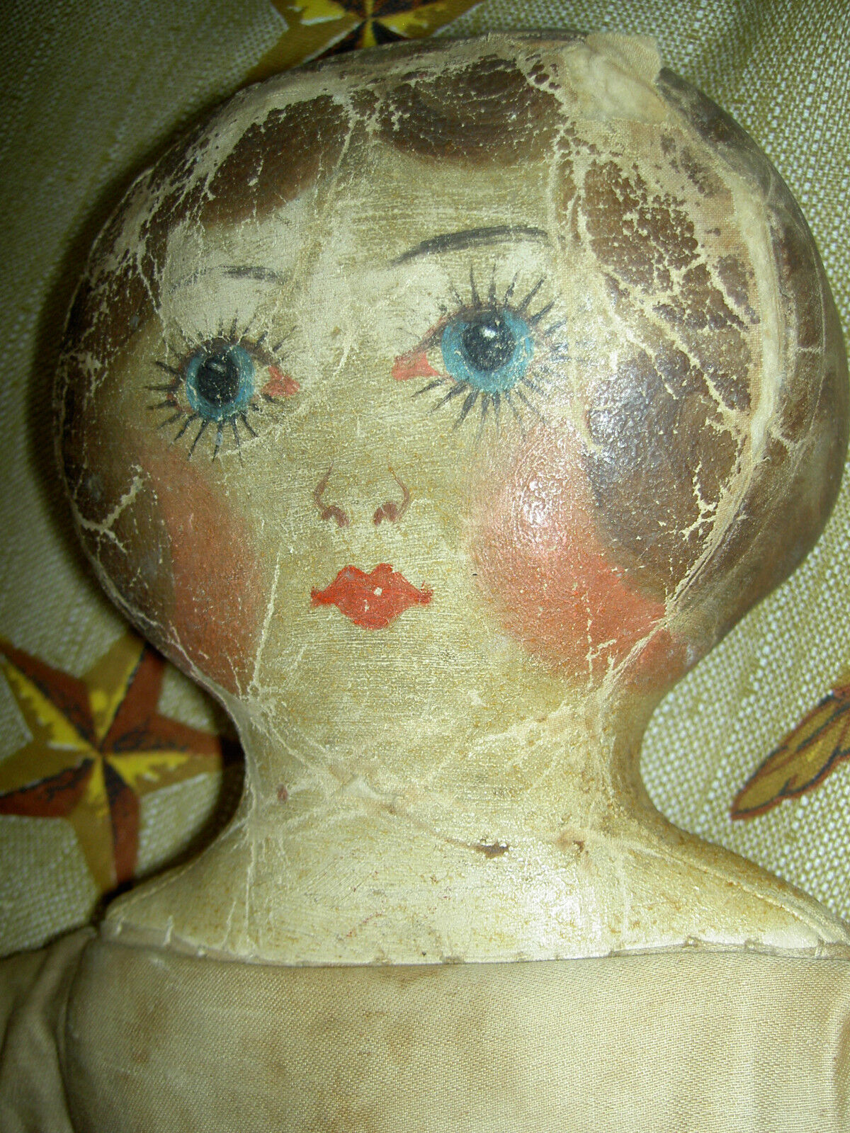 Querida antiguos, primitivo Paño Muñeca con aceite fino cara pintada, Vestido sustituido
