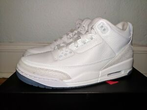 1c1cbdfe8ad4e1 NIKE AIR JORDAN III 3 RETRO TRIPLE WHITE PURE MONEY MENS 9.5