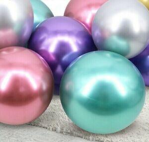 50-Metallique-Ballons-Chrome-Mariage-Fete-D-039-Anniversaire-12-034-Pearl-Chrome-baloons-UK
