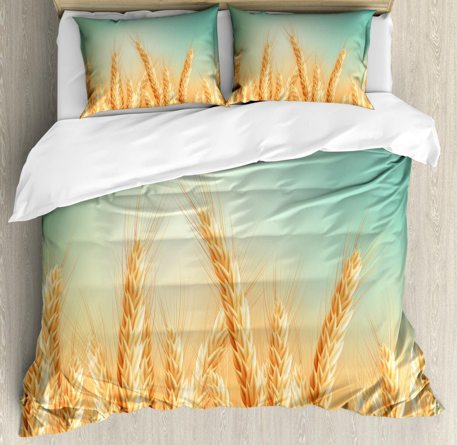 Harvest Duvet Cover Set with Pillow Shams Wheat Field blueeee Sky Print