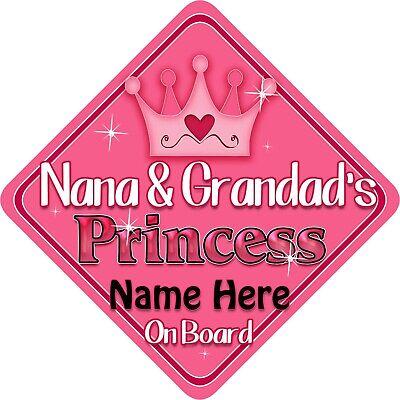 Personalised Grandad/'s Princess Star Shaped Baby On Board Car Sign ~ New Bla//Go