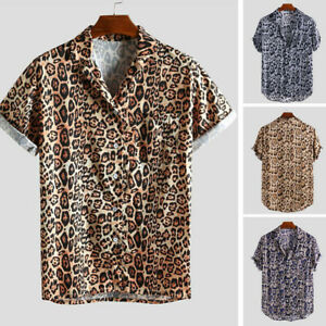 Men-Leopard-Print-Chest-Pocket-Turn-Down-Collar-Short-Sleeve-Casual-Loose-Shirt