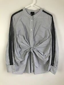 Worthington-XL-Black-White-Striped-Long-Sleeve-Tie-Front-Button-Up-Top-Shirt