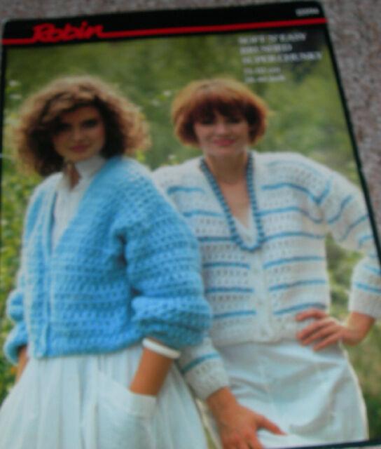 Original Robin Knitting Pattern Ladies Brushed Chunky Patterned Cardigans 13594