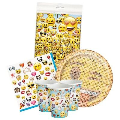 Birthday Tablecover Cups Plates /& Napkins Emoticon Faces {UQ} EMOJI Party Pack