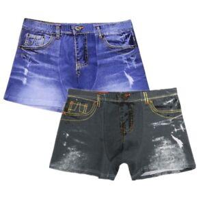 Men-Demin-Jeans-Boxer-Briefs-Pouch-Shorts-Pants-Underwear-Swim-Trunks-Underpants