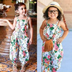 858ba4b24205 Infant Baby Kid Girls Floral Print Sleeveless Strap Rompers Jumpsuit ...