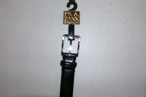 $69.50 New Jos A Bank Black leather stiched edge belt with silver tone buckle 48