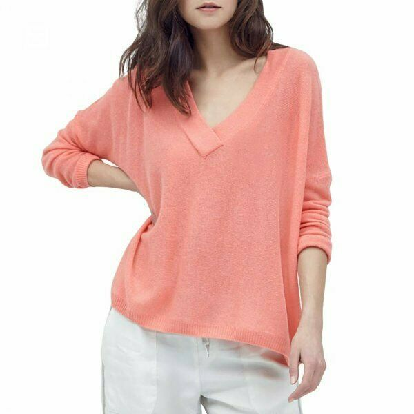 Gorgeous peach loose fit CHARLI 100% CASHMERE deep V JUMPER UK10 us6 bnwt