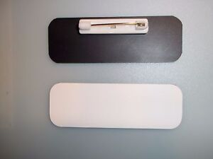 20 white black blank name badges tags 1x3 with pins and rounded