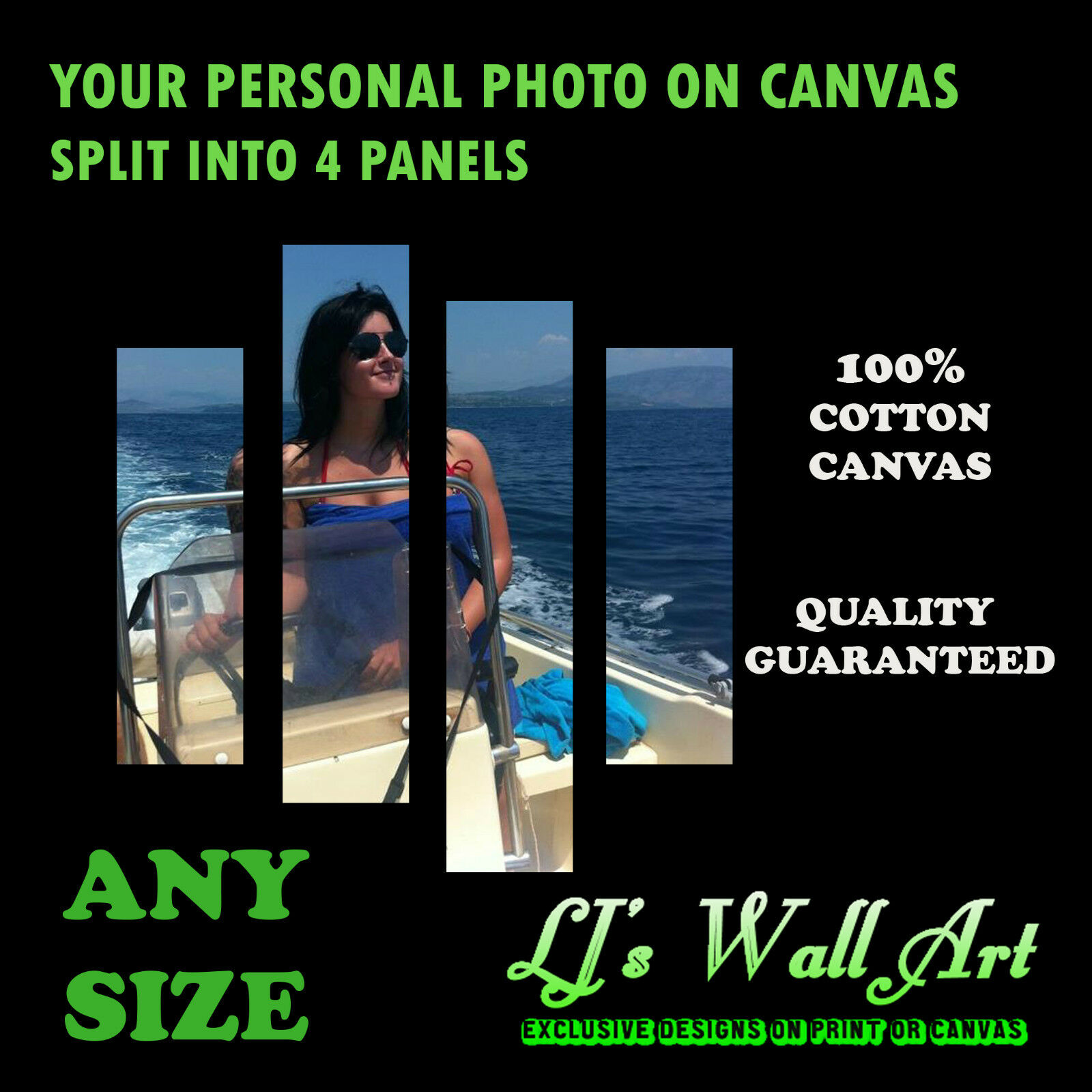 Your Personal Photo Picture on a Box Canvas - Split into 4 Panels - 100% Cotton