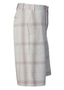 Callaway-Grey-Large-Check-Men-039-s-Tailored-Plain-Front-Golf-Shorts-Waist-30-New