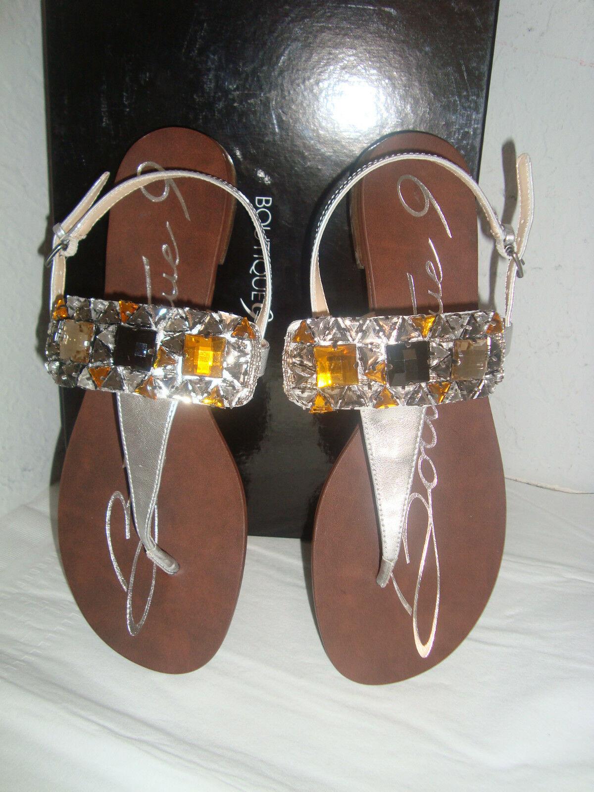 NEU Boutique 9 Perogative Silver Jeweled Thong Sandales 9 Medium