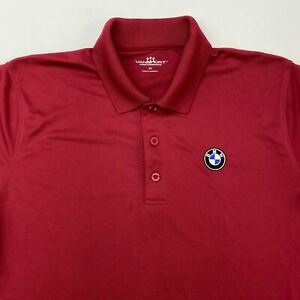 Vansport Performance BMW Polo Shirt Men's Small Short Sleeve Red 100% Polyester