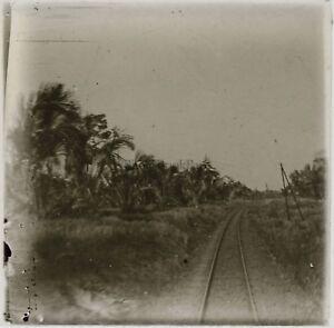 Linee Da Chemin Da Ferro Vietnam Foto Placca Da Lente Stereo L27 Vintage c1910