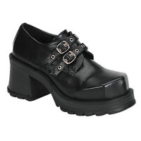 Demonia Trump-101 Goth Punk Lolita Cosplay Mary Jane Black Shoes 2 Buckle
