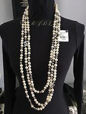 NWT CHANEL $3600 2016 WHITE PEARL GREY SILVER TRIPLE STRAND NECKLACE SKY MIRROR