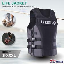 Adults Life Jacket Premium Neoprene Vest Water Ski Wakeboard Grey S-XXXL