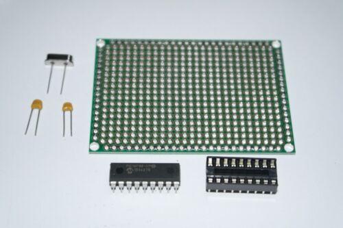 PIC16F648a-I//P MCU Kit Matrix PCB 16MHZ Crystal 22pF Capacitors IC Socket