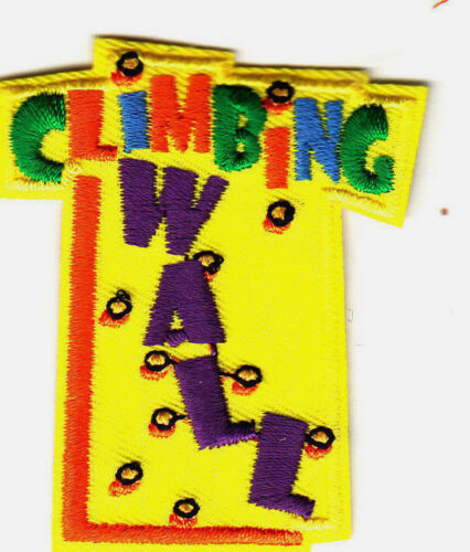 """Words Climbing Sports /"""" CLIMBING WALL/"""" Iron On Embroidered Applique Patch"""