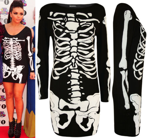 LADIES SKELETON PRINT LONG SLEEVE SCARY FREAKY PARTY DRESS TOP BIG SIZES 8-26