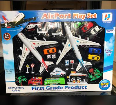 Airport Play Set con Elicottero AIR PLANE AEROPORTO 20 veicoli /& carichi più Play