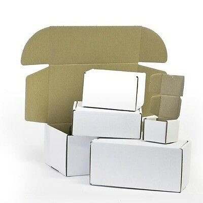 "White Die Cut Folding Lid Eco Packing Cardboard PIP Boxes Small Parcel 4x3x2"" CS"