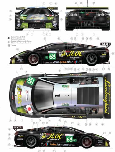 Decals 1//43 Lamborghini JLOC Racing #68 LM2009 avec Carbone FFSMC Productions