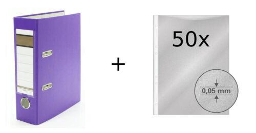 Farbe lila DIN A5 50 Prospekthüllen Ordner 75mm