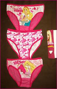 9399298c70e Details about 3 pack Size 6 - 8 BARBIE GIRLS BRIEFS - Cotton Undies / PINK  UNDERWEAR - NEW