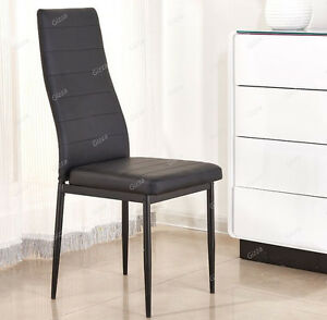 faux leather dining chair black seat pad high back kitchen room single